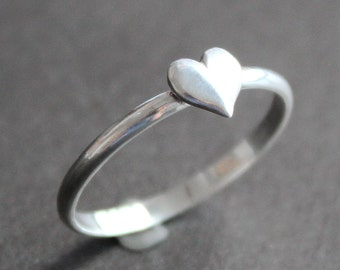 Heart Ring - Sterling Silver 2mm Band with 6mm Silver Heart