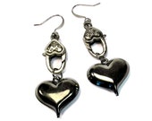 Edgy Steampunk Black Heart Earrings, Gunmetal Earrings, Edgy Jewelry, Goth, Valentines Day