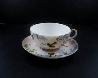 Tea Cup and Saucer Naturalistic Scene with Bamboo & Charming Birds Made in Japan