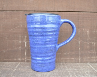Sparkle on the Go - Ceramic Travel Mug with Lid - Twist Closure - Shimmer in Sapphire