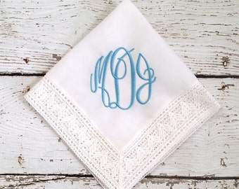 Monogrammed Something Blue Bridal Embroidered Handkerchief