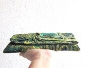 Personalize  Forest Green  Clutch Bag in Cotton velvet plush, Pleated  Clutch, Spirala, Elegant , Paisley, Unique, Handmade