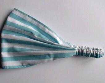 Cotton Yoga Headband Half Inch Stripe in Aqua Riley Blake fabric