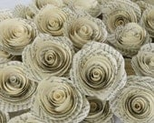 50  LIGHT patina Paper Flowers made from Book Pages