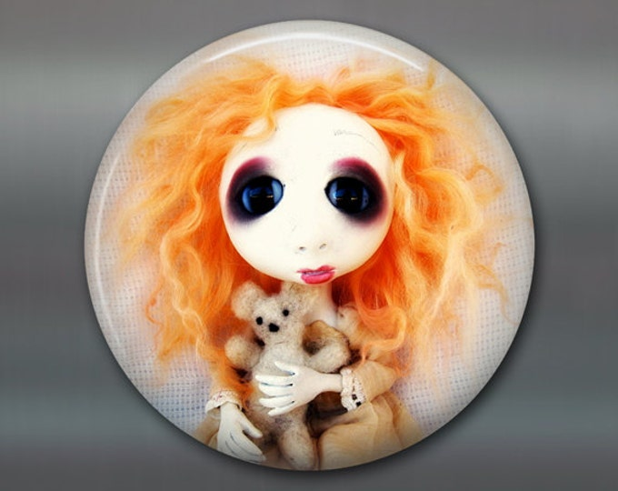 "3.5"" gothic doll fridge magnet, large magnet, kitchen decor, gothic decor, housewarming gift art magnet MA-AD66"