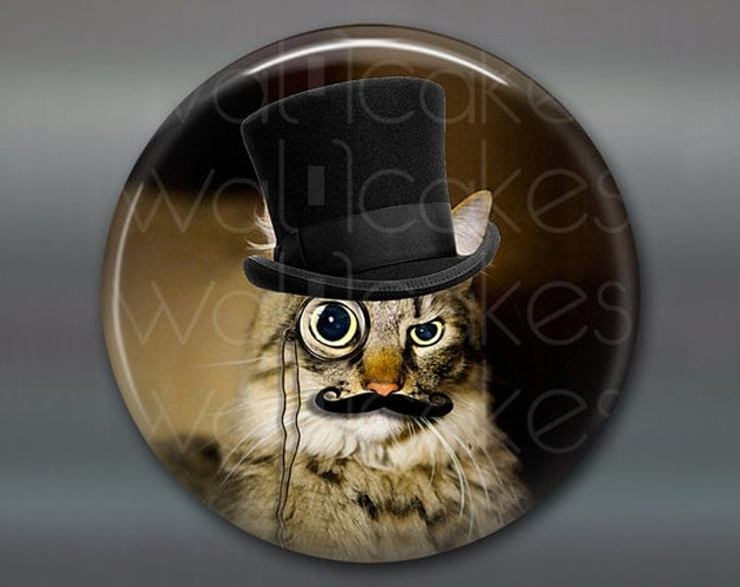 "3.5"" steampunk cat magnet, cat decor, steam punk decor, cat fridge magnet kitchen decor, large fridge magnet, housewarming gift  MA-1022"