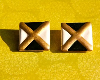 """SALE Black, white and gold """"X"""" earrings"""