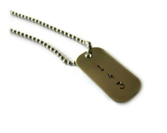 143 - Hand Stamped Mini Dog Tag Necklace - Stainless Steel