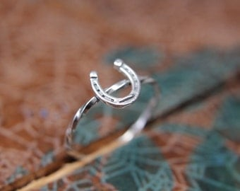 Dainty Sterling Silver Horseshoe Ring. Silver stacking ring. Sterling silver equestrian jewelry. Lucky horseshoe ring.