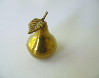 Vintage Brass Pear Box, container, lidded