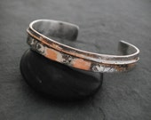 Textured Sterling Silver and Copper Thin Flow Cuff, Cuff Bracelet, Rustic Jewelry, Mixed Metal Cuffs, Jewelry Gift, Jewelry By Naomi
