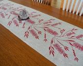 Bottlebrush Linen Table Runner Hand Screen Printed Red&Natural