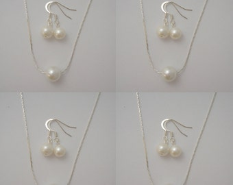 4 Bridesmaid Single Floating Pearl Jewelry Sets  - Necklace and Earrings, weddings, bridesmaid jewelry