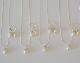 5 Simple & Elegant Pearl Bridesmaid Jewelry Gifts - Necklace and Earrings, Weddings