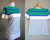 Sailor Stripe Top Vintage Shirt Blue Green Nautical Small