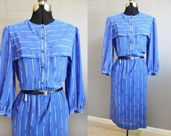 Secretary Dress Vintage Blue Stripe 80s Large XL