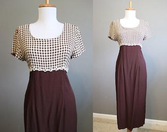 Daisy Trim Dress Vintage Check Maxi 90s Small