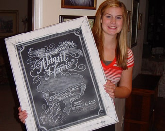 Framed 11 x 14 Chalkboard Art Sign Personalized Missionary Sign