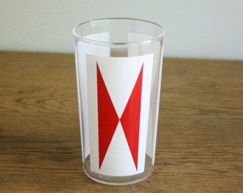 Mid Century Mod Red and White Glass Tumbler