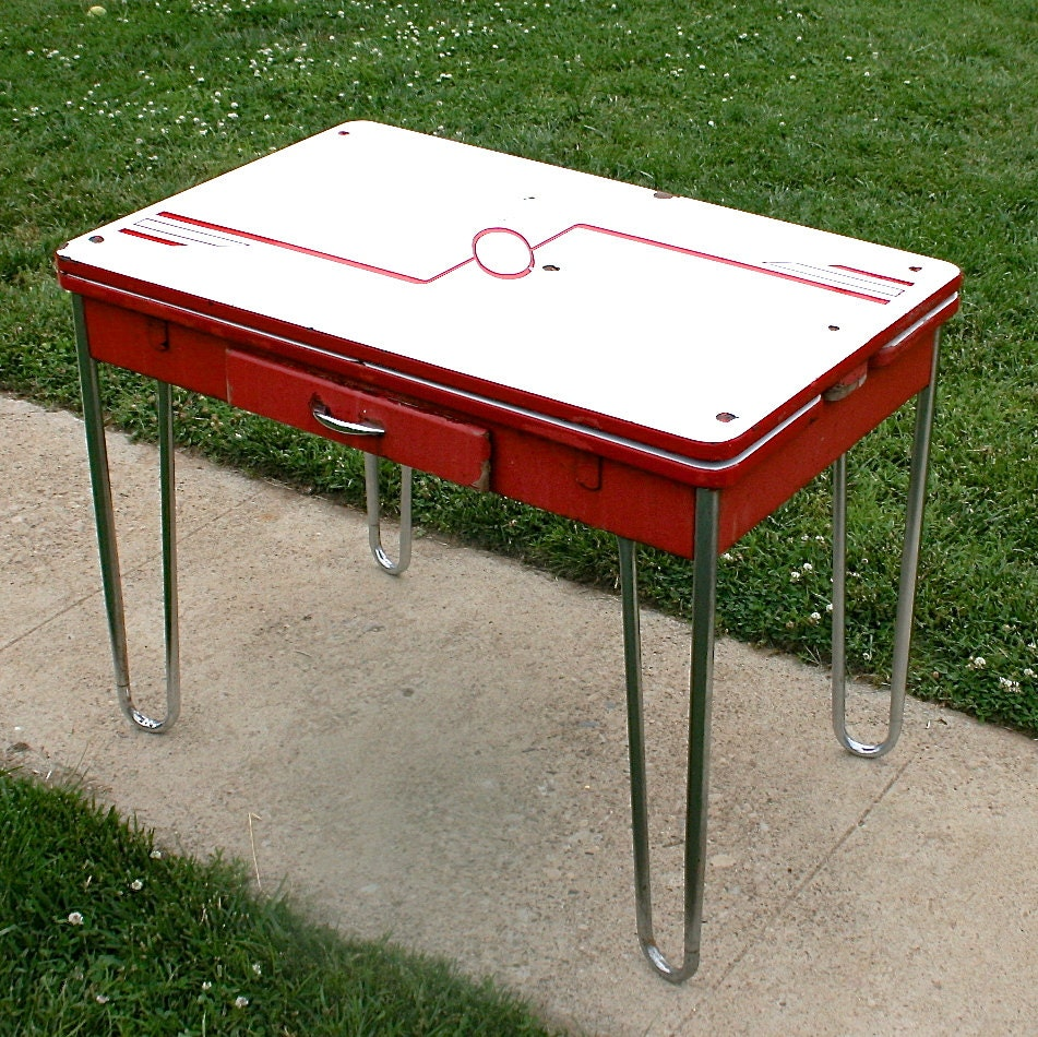 Vintage Chrome Kitchen Table: Vintage Red And White Retro Enamel And Chrome Table