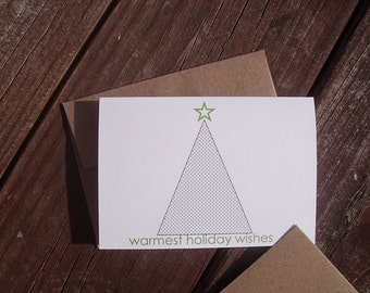 Holiday Note Cards - Christmas Tree Geometric Stationery, Holiday Thank You Notes, White Black Green Tree, Place Cards, Modern Minimalist
