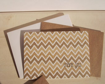 Gold Chevron Thank You Cards - Gold Glitter Thank You Notes, Ombre Chevron Stripes Geometric Stationery Set, Modern Wedding Thank You Cards