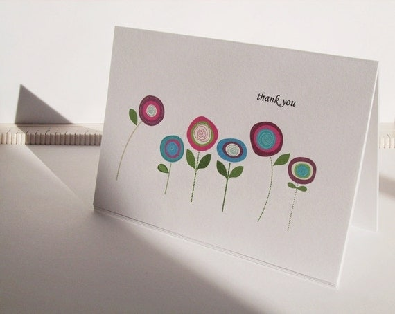 Thank You Card Set - Poppy Flowers, Plum Purple Raspberry Turquoise Poppies, Poppy Thank You Cards, Radiant Orchid Flowers Botanical Garden