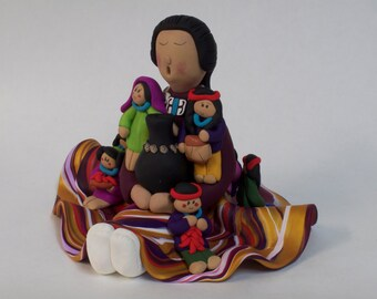 Native American Storyteller Doll clay sculpture