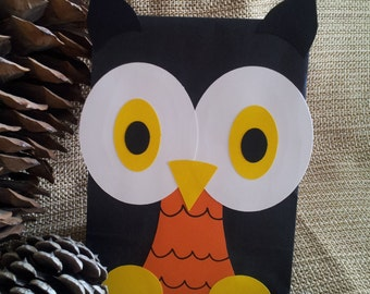 Fall Owl Treat Sacks - Halloween Spooky Forest Nature Woodland Theme Birthday Party Favor Goody Bags by jettabees on Etsy