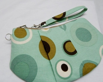 Wristlet Purse, Mint Green Brown Circles, Handmade Purse, Made in Maine USA