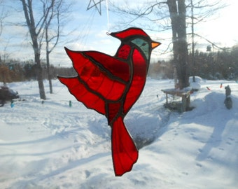cardinal med. stained glass suncatcher