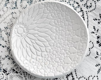 White lace Ceramic dish, catchall, spoon rest, candle or soap dish