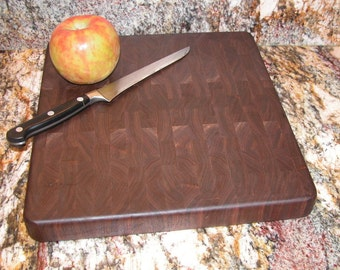 Wooden Cutting Board - All Walnut Endgrain - Kitchen Decor