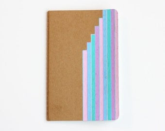 Sale - Notebook, Lined Notebook, Pastel, Stripes, Illustration, Travel Journal, Idea Notebook, Waterfall Stripes, OOAK, gift for her,