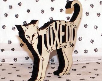 Tuxedo Cat Handmade Fretwork Wood Puzzle
