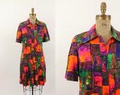 60s dress - 1960s day dress - mod dress - orange abstract print dress - drop waist - medium large