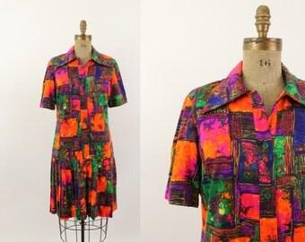 60s dress - 1960s mod day dress - fall dress - orange dress - drop waist - medium large