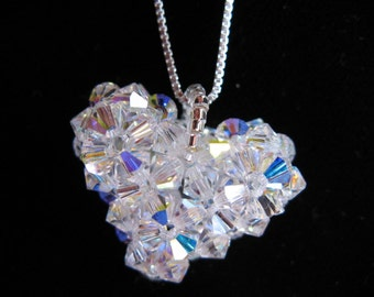 Heart Necklaces w/ Chain, Puffy Crystal 3D Heart Pendant, Swarovski Crystal Heart Necklace, Crystal Heart, Beadwoven Jewelry