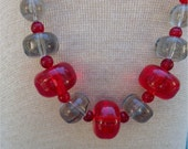 """CHUNKY LUCITE BEAD Necklace, Red and Clear, 30"""" Statement Piece, Vintage Costume Jewelry"""