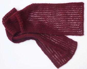 Knitting pattern scarf, rich burgundy scarf, pdf scarf pattern (or Word file)