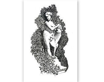 Original drawing, 'Garden statue, Villeneuve, Provence', ink drawing, black ink, on 8x10 inch page