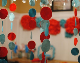 Circle Wool Felt Garland / Streamers for Birthday Party Decorations and Weddings Showers Nursery Decor