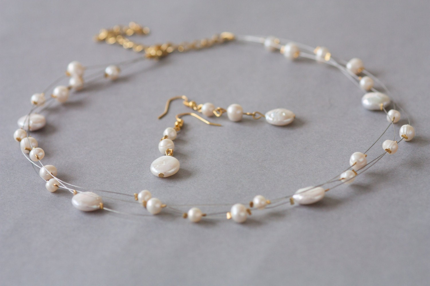 multi strand bridal illusion necklace and earrings set in ivory freshwater pearl and coin pearl from LSBJewellry on Etsy