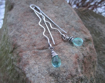 Sterling Silver 'Hairpin' Earrings with Sky Blue  Czech Glass Drops