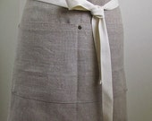 Linen Apron Half  Apron Woman European Linen  Rustic Tan Large Pocket