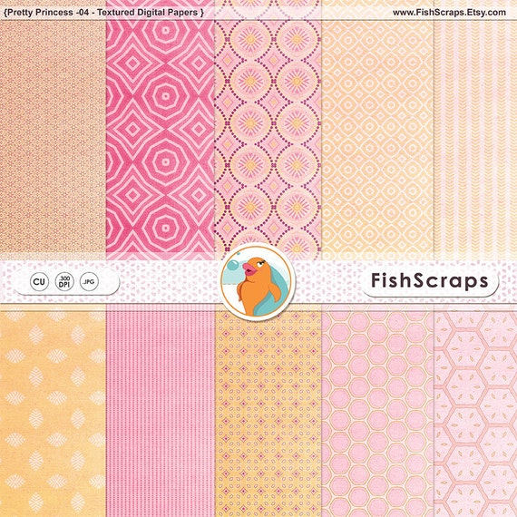 Retirement Sale - Pink & Yellow Digital Paper ( Pretty Princess 04 )  Patterned and Lightly Textured Backgrounds - Girl