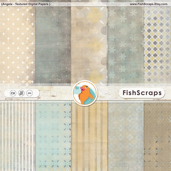 Grey & Yellow Digital Paper, Modern Scrapbooking Backgrounds, Angela Patterned Paper,  Lightly Distressed, Instant Download