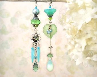 Mojito - Mint Lime Green Aqua Chartreuse Earrings Bohemian Festival Jewelry Spring Summer Colors Romantic Handmade Leaf Earrings Aqua Opal