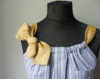 Striped Tank Top, Purple Shirt, Upcycled Neckties, Pinstripe Blouse, Womens Tunic, Recycled Apparel, Sustainable Eco Clothing