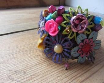 Gypsy Junk Bracelet, Floral Assemblage Cuff Bracelet, Mixed Media Findings Boho Bracelet, Upcycled Jewelry, Recycled Bracelet, Gypsy Soul